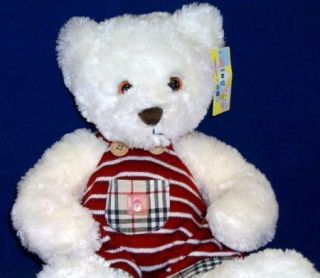 Teddymingrentoy White Teddy Bear Plush Knit Overalls New with Tags Ming Ren