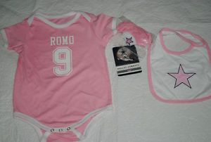 New Tony Romo 9 Dallas Cowboys Onepiece Jersey Set Baby Girl Pink 24 M