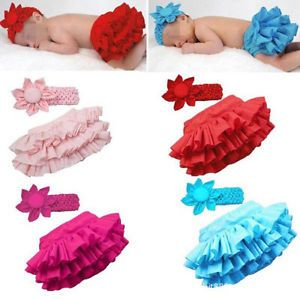 Newborn Baby Girls Headband Ruffle Skirt Children Bloomers Kids Dress Clothes