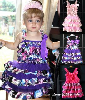 Girls Tutu Dress Outfit Pettiskirt Dance Party Pink Photo Prop Ruffle Bow Floral