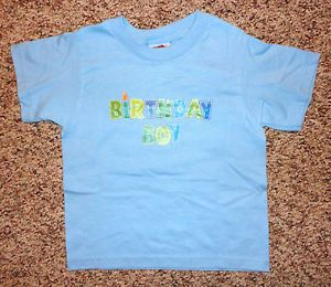 "New Boys Fruit of The Loom Blue ""Birthday Boy"" Shirt Sz 3T Short Sleeve"