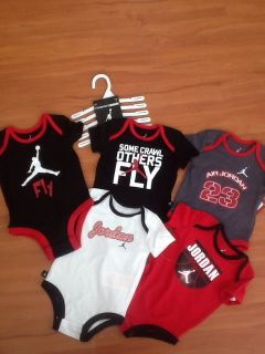 Nike Air Jordan Baby Boys Bodysuit Shirt Clothes Lot 5 PC Size 3 6M 60$