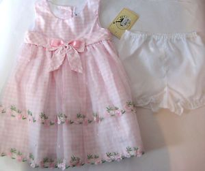 Infant Baby Girls Pink Easter Spring Summer Dress Size 12M Good Lad $56
