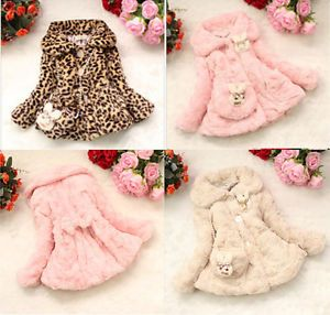 Toddler Baby Girls Faux Fur Coat Kid Outwear Clothes Winter Warm Jacket Snowsuit