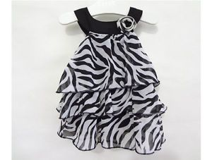 1pc Kid Infant Baby Girl Chiffon Dress Outfit Clothes Pettiskirt Tutu Zebra 0 4Y