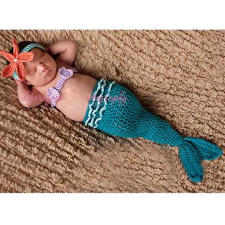 Infant Baby Newborn Cute Mermaid Hand Knitted Suits Kids DarkBlue Clothes Suit