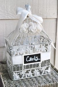 Medium Ivory Wedding Bird Cage Card Holder Ivory with Chalkboard Sign