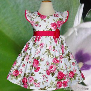 Baby Toddler Girls Dresses Kids Pink Rose Flower Birthday Party Clothes Size 4T
