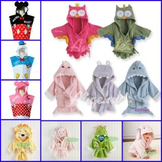 New Baby Girl Boys Animal Owl Hippo Shark Hooded Bath Beach Towel Bathwrap 0 36M