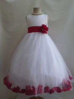 Red Toddler Infant Pageant Recital Bridal Party Rose Petal Flower Girl Dress