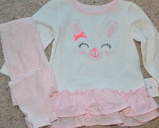 Carter's 2 Piece Baby Girl Outfit Ruffle Bunny Top Leggings 9 12 Months