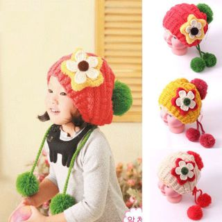 Cute Handmade Flowers Cotton Cap Spring Autumn Children Baby Kids Girl Hats
