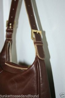Adrienne Vittadini Women's Brown Leather Purse Hand Shoulder Bag A173