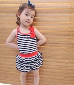 2pcs 2013 Girls Kids Baby Bowknot Stripe Dress Summer Vest Fillibeg Suit Clothes