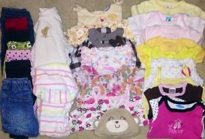 Infant Baby Girl Clothes Lot Size 6 6 9 9 Months Fall Summer 25 Pcs