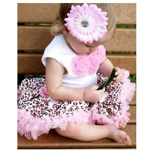 2pcs Baby Girl Kids Tutu Dress Top Skirt Dress Leopard Clothes 1 4Y