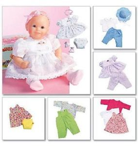 "McCall Pattern 4338 Bitty Baby Doll Clothes Baby Alive 5 Style Sz 11 13"" 14 16"""