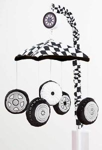 Checkered Black and White w Orange Trim Baby Boys Car Tires Musical Crib Mobile