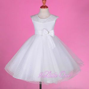 White Wedding Flower Girls Pageant Party Dress