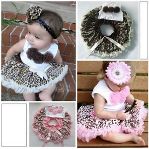 Baby 2 Pcs Girls Kids Tutu Dress Flowers Top Skirt Leopard Outfits Clothes 1 4Y