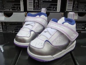 "NIB Nike Air Jordan Baby Shoes 3 ""Jordan Flight 45"" 364759 151 Silver Purple WH"