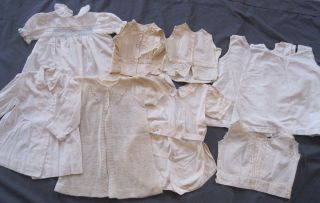 9pc Antique Vintage Baby Child Doll Clothing Lot Dress Coat Slips Tops Whites