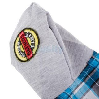 Blue Plaid Leisure Casual Style Shirt Hoodie Coat Pet Dog Clothes Apparel New S