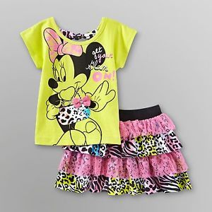 New Girl Disney Minnie Mouse T Shirt Skirt Set Toddler Size 2T 3T 4T 5T