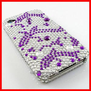 Purple Dolphins Bling Case Cover for iPhone 4 Accessory