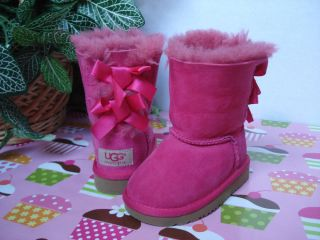 Adorable UGG Australia Toddler Girls Pink Cerise Bailey Bow Boots Size 6 $120
