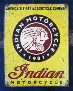 Indian Motorcycle Metal Man Cave Sign Triumph Harley BSA Rat Rod Tattoo