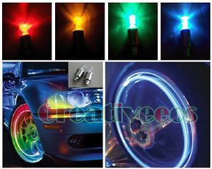 4X Bike Motorcycle Wheel Tyre Tire Valve Caps Covers 7Color LED Lights Bulbs