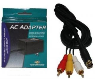 9 Pin RCA AV Composite Cable AC Power Supply Adapter for Sega Genesis 3 System