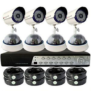 "8 1 3"" Sony CCD Cameras 8 CH H 264 CCTV Remote Mobile Review DVR Security System"