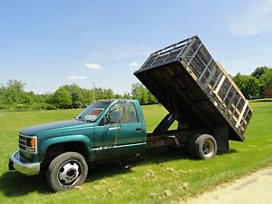1993 Chevy 3500HD Stake Bed Flatbed Dump Truck 8x12 Bed