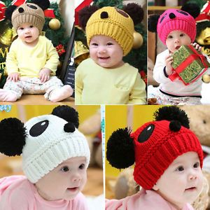 1pcs Vogue Cute Baby Kids Girls Boys Stretchy Warm Winter Panda Cap Hat Beanie