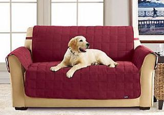 Sure Fit Waterproof Strap Suede Pet Dog Slip Cover Sofa Chair Loveseat Loden
