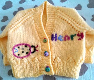 Personalized Gift Hand Knitted Baby Girl Cardigan Sweater Jumper Ladybird