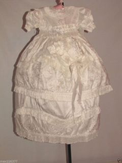 New Deluxe Baby Girl Baptism Christening Dress Gown Ropon Boutique Silk 12 Month