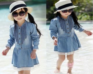Baby Girls Kids Dress 3 7Y Casual Denim Blue Long Sleeve Lace Cowboy Clothes
