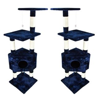"Navy Blue Cat Tower Tree Deluxe 53"" w Condo Scratcher Furniture Kitten House Bed"