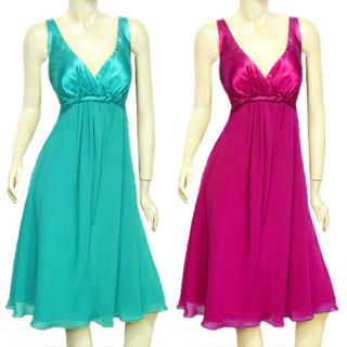 New Rope Waist Chiffon Satin Formal Party Bridesmaid Cocktail Dress