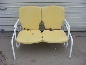Vintage Retro 1950s 60s Yellow Metal Patio Porch Glider Lounge Bench Swing Chair