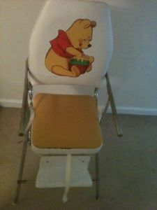 Vintage Winnie The Pooh Metal Chrome Folding High Chair Comfortline