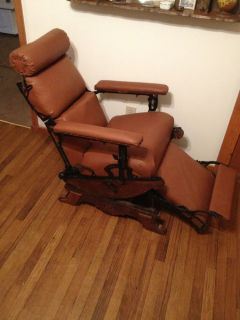 Antique Early American Wooden Rocking Barber Chair Shaving Tattoo 1800'S