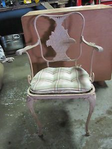 Antique Victorian Cast Iron Metal Garden Chair Pink w Pineapple Indianapolis