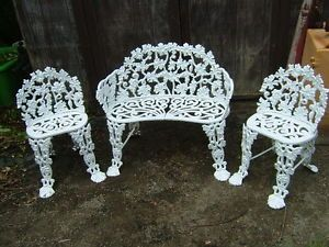 Antique Victorian Cast Iron Garden Set Grapes Leaves Bench Chairs Bradford PA