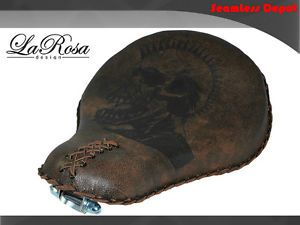 "16"" LaRosa Rustic Brown Leather Death Punk Skull Harley Bobber Rigid Solo Seat"
