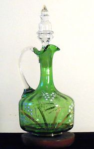 Bohemian Green Glass Antique Victorian Wine Pitcher Decanter Lily of The Valley