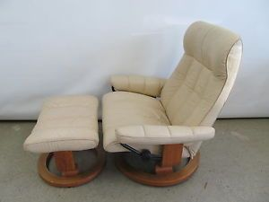 Vintage Leather Recliner Chair Ottoman Modern Ekornes Stressless Chair